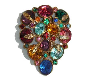 Vintage 30s Multicolored Czech Glass Dress Clip