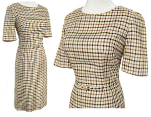 60s Vera Maxwell Dress Secretary Windowpane Plaid NOS - S / M