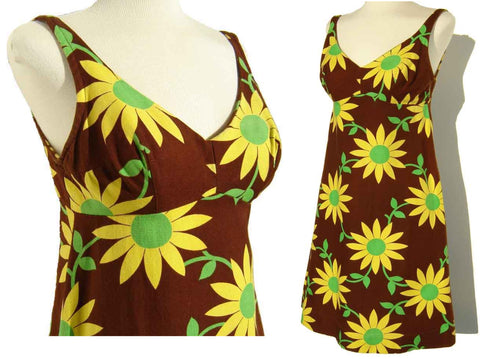 60s Daisy Mini Dress Floral Babydoll Sundress