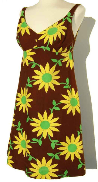 Vintage 60s Mini Dress Daisy Print Babydoll Sundress