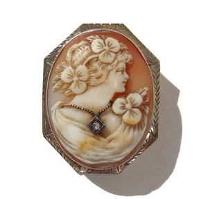 Edwardian 14K Cameo Habille Brooch White Gold & Diamond Pendant Pin