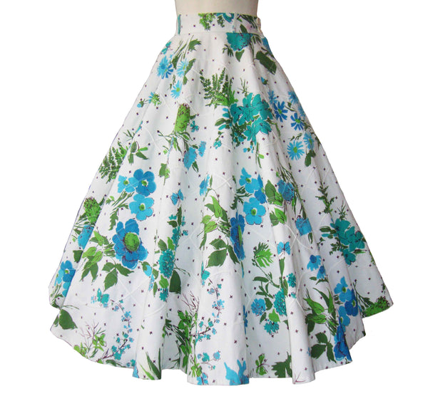 Vintage 50s Circle Skirt Blue Floral Rockabilly