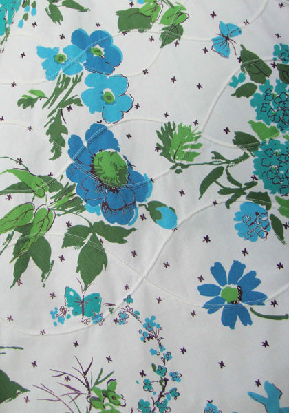 Close Up of 50s Circle Skirt Blue Floral Rockabilly Quilted Cotton
