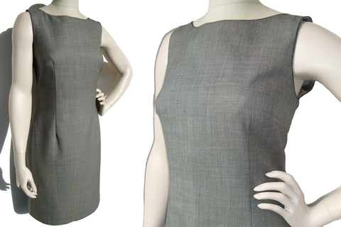 90s Moschino Dress Cheap & Chic Gray Shift w/ Zipper Teeth Novelty Trim