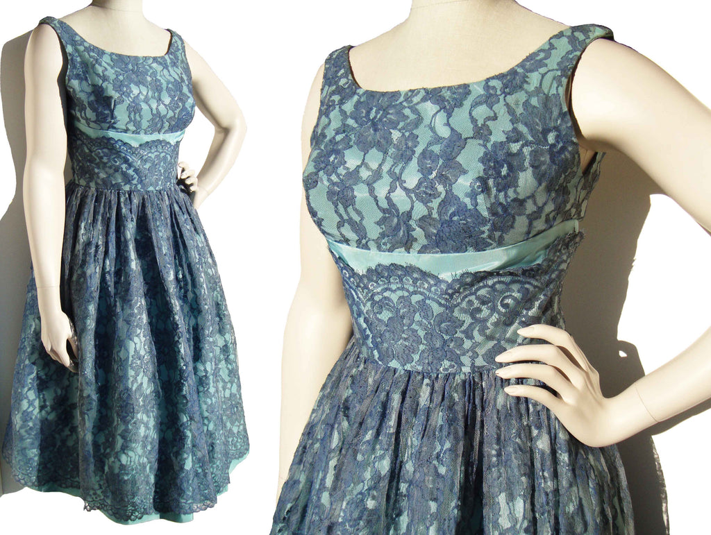 Vintage Rockabilly Party Dress Bullet Bra Blue Taffeta & Lace ...
