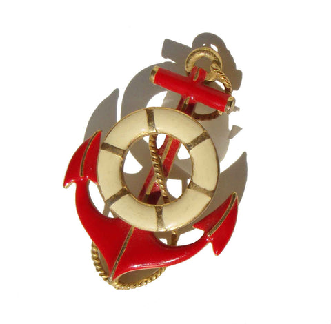 Vintage Anchor Brooch Nautical Pin