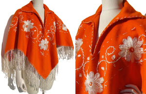 Vintage 70s Orange Poncho