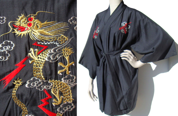 Vintage Silk Dragon Robe Japan