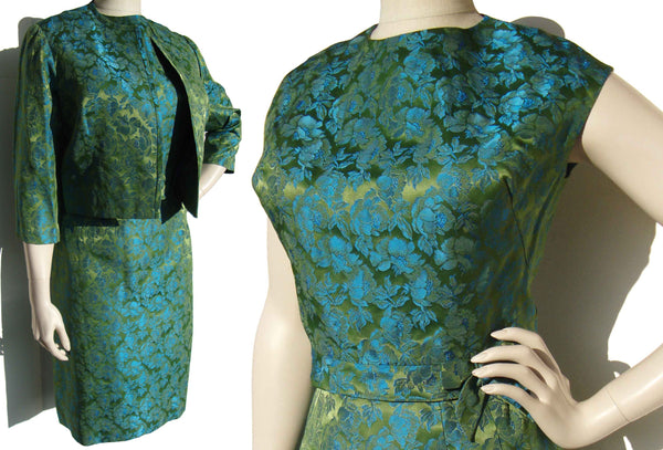 Vintage 60s Brocade Suit 3-Piece Blue Green Satin Floral Set by Tween Craft – L XL