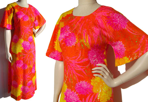 Vintage 60s Dress Two Potato Psychedelic Muumuu Maxi S / M