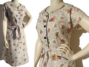 Vintage 50s House Dress Cotton Rose Flower Raspberry Print M / L