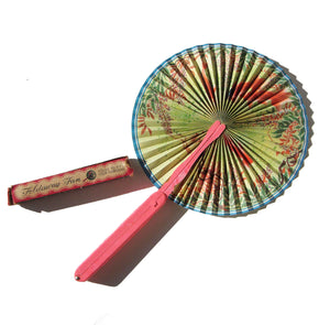 Vintage Foldaway Fan Asian Goldfish Portable Paper Hand Fan