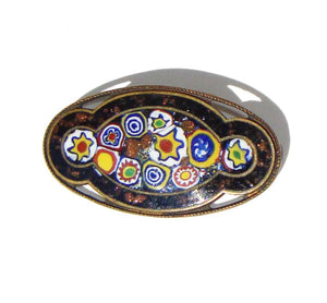 Antique Millefiori Brooch Murano Glass Venetian Pin