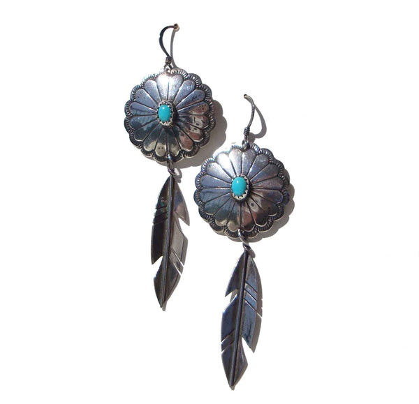 Vintage Navajo Earrings Sterling Turquoise Concha & Feather
