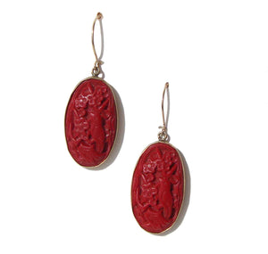 Vintage Cinnabar Earrings 14K & Sterling Silver Carved Birds