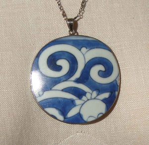 Vintage Ming Pottery Shard Sterling Pendant Necklace