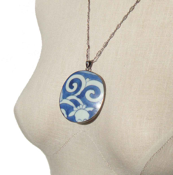 Ming Pottery Chinese Lotus Flower Necklace