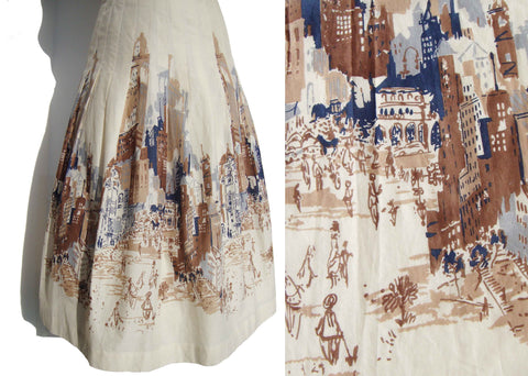 Vintage Cityscape Skirt New York Novelty Print S XS