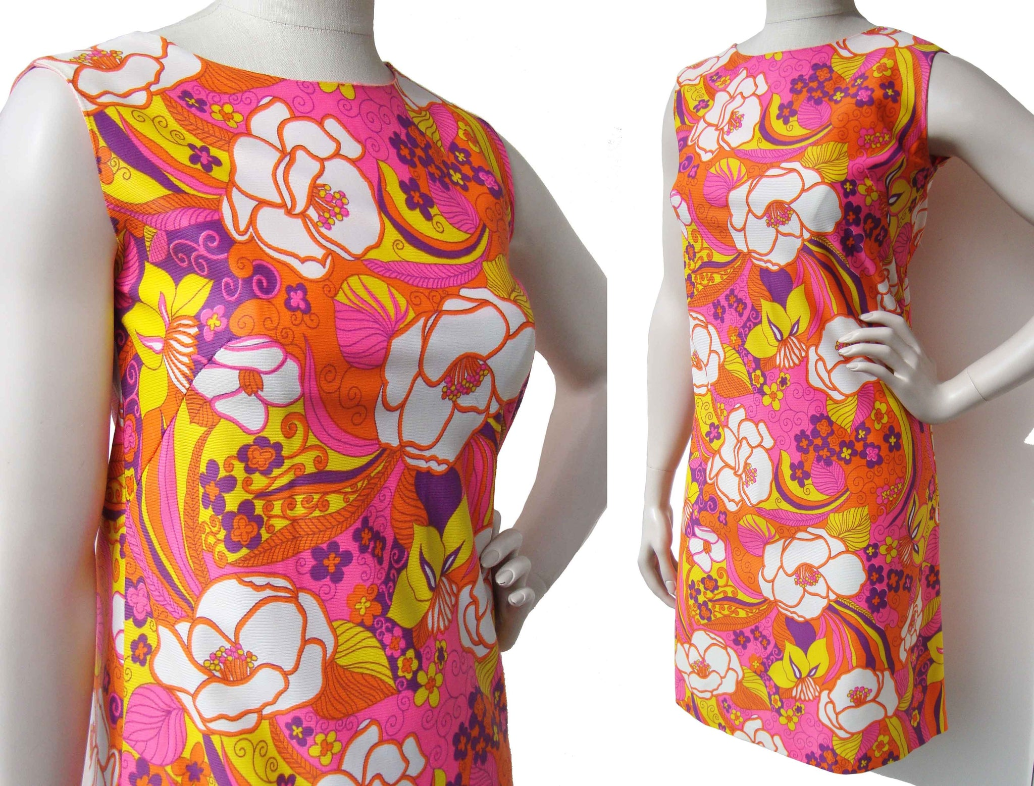 Vintage 60s Pink Dress Mod Floral Psychedelic Pop Art Mini S / M