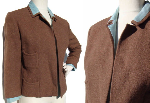Vintage 60s Crop Jacket Brown Wool & Teal Silk Bolero M