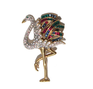 Vintage Napier Rhinestone Flamingo Brooch Duchess of Windsor Cartier Design