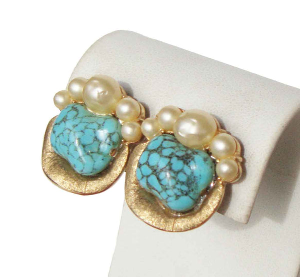 Vintage Trifari Turquoise & Baroque Pearl Earrings