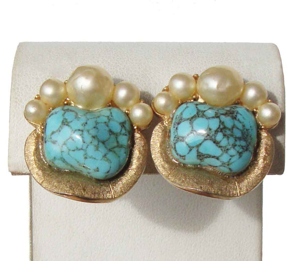 Turquoise Trifari Earrings - Metro Retro Vintage