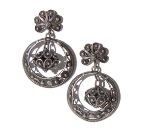 Vintage Silver Filigree Spanish Hoop Earrings – Softouch Clips