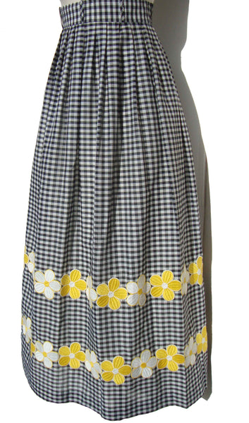 60s Checkered Maxi Skirt - Metro Retro Vintage