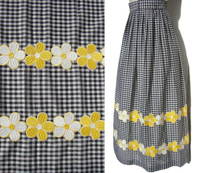 Vintage 60s Rontini Gingham Maxi Skirt B&W Checkered Daisy Flowers S