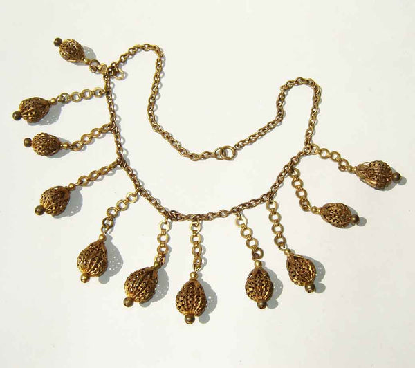 Vintage Egyptian Revival Bohemian Brass Beaded Necklace