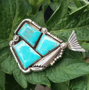 Neal Paquin Navajo Fish Pendant Sterling & Turquoise