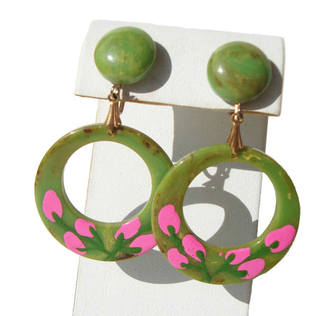 Vintage Bakelite Earrings Green & Pink Painted Hoops