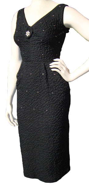 Vintage 50s Wiggle Dress with Rhinestones
