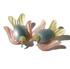 50s Moonglow Lucite Birds Pastel Brooch Pins – Set of 2