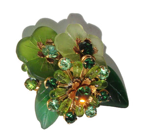 50s DeMario Brooch Green Frosted Flowers & Rhinestones Pin