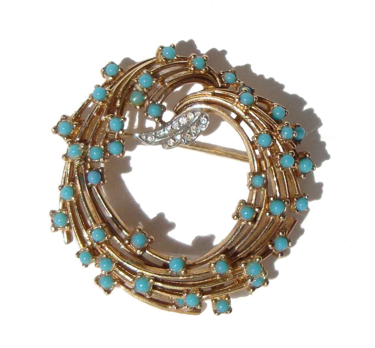 Vintage Ciner Brooch Turquoise & Rhinestone Cocktail Wreath Pin