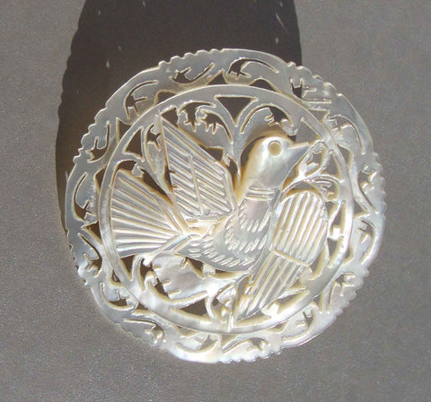 Vintage mother of Pearl Dove Brooch from Bethlehem