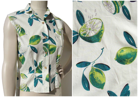 Vintage Novelty Print Blouse