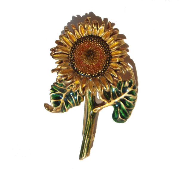 MFA Enameled Sunflower Brooch