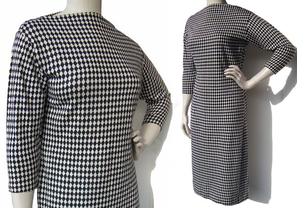 Vintage 50s Jane Irwill Knit Dress Black White Harlequin Print M