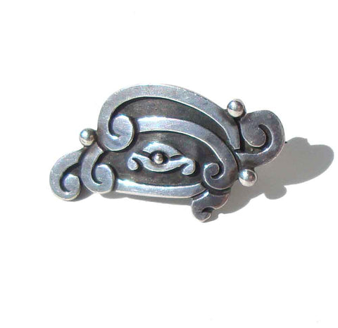 Vintage Mayan Bird Glyph Pin Sterling Silver Taxco Brooch
