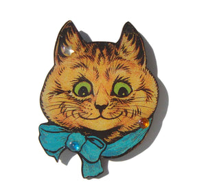 Vintage Cat Brooch Louis Wain Pin DftD Designs from the Deep