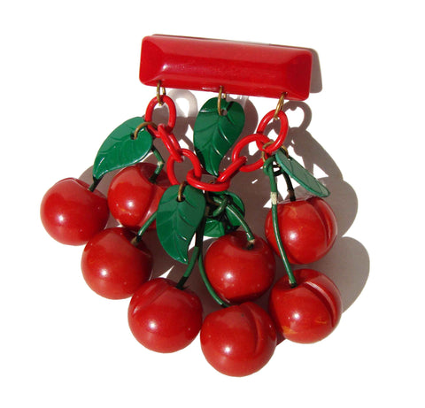 40s Bakelite Cherries Brooch