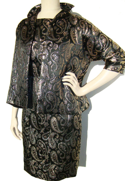 60s Black & Gold Brocade Dress and Jacket