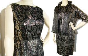 60s Dress Set w/ Jacket Black & Gold Brocade Cocktail Party M