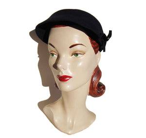 40s Hat Navy Blue Wool Felt Art Deco Ladies Cap