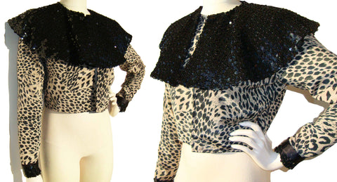 90s Cheetah Print Jacket w/ Black Sequins Cocktail Crop Top M / L