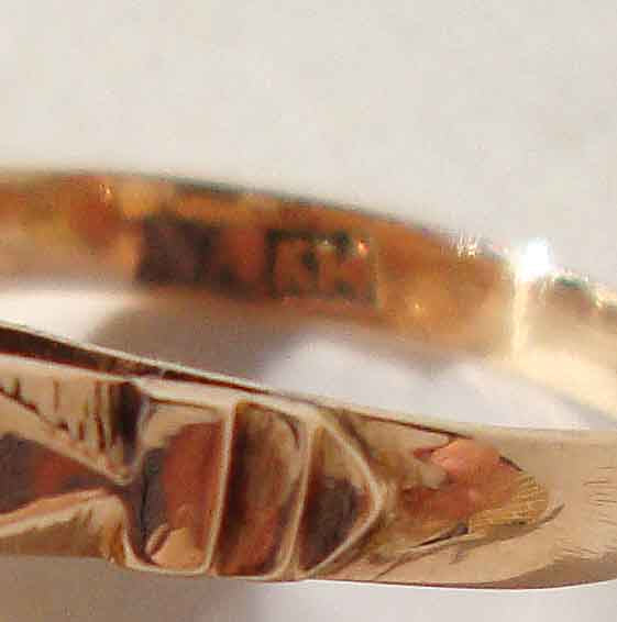 Close Up of Vintage 14K Coral Ring