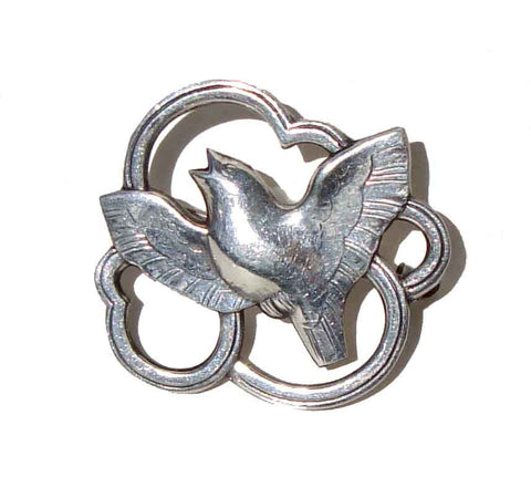 40s Danish Modernist Brooch Eiler & Marloe Sterling Bird Skonvirke Art Deco Dove Pin